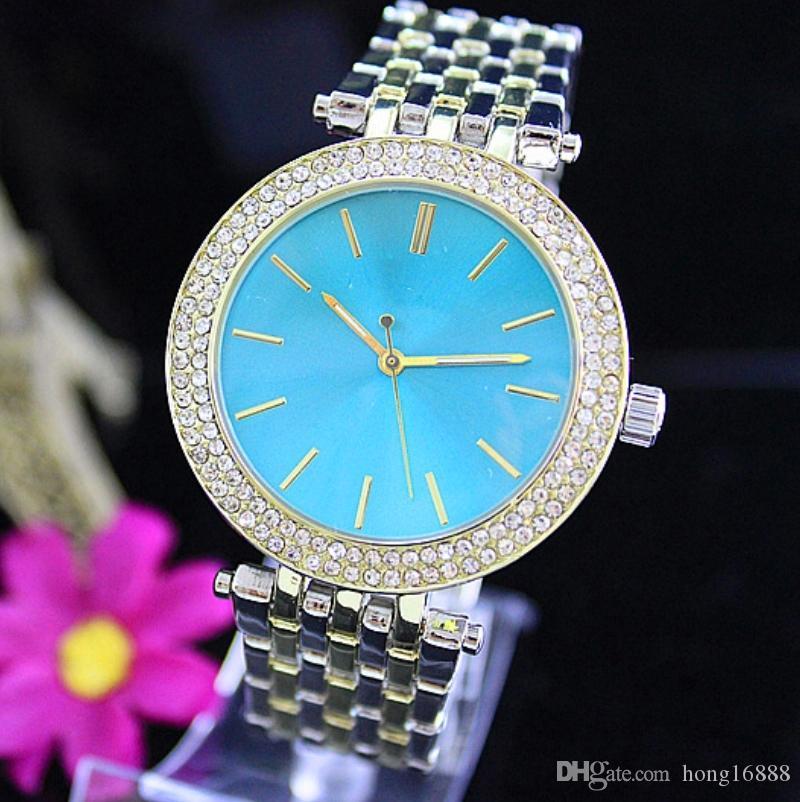 Moda de Luxo de Quartzo Casual Assista Double Row Luxo Cristal de Diamante Moderna Elegante Grande Terno das Mulheres Relógio de fábrica por atacado Frete Grátis