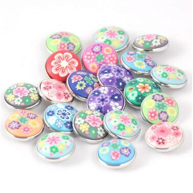 100 boutons en pâte polymère multicolore 20mm noosa chunk snap conviennent à vos bijoux pression de 18 mm