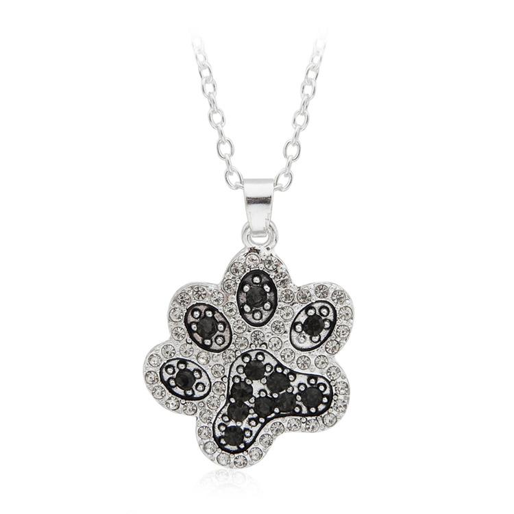 Vintage Women Jewelry Cats Dogs Paw Pendant Full CN Diamond Pendant Necklace Pets Fashion Jewelry Silver Plating Hot selling