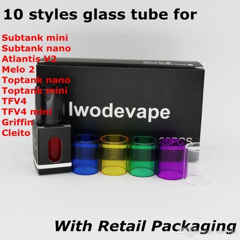 Sostituzione del tubo di vetro Pyrex per Subtank Toptank Mini Nano TFV4 Mini Aspire Atlantis V2 Melo 2 Cleito Griffin Serbatoio con confezione singola DHL