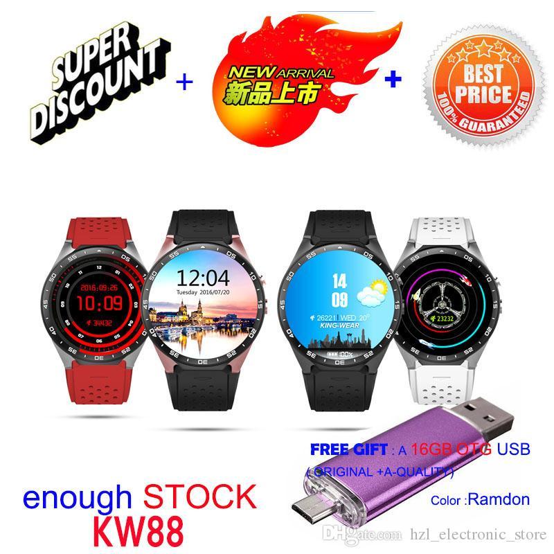 2016 سمارت ووتش kw88 kingware المصنع الأصلي الروبوت 5.1smartwatch MTK6580 اليد 4 جرام rom gps wifi بلوتوث 3 جرام watchphone