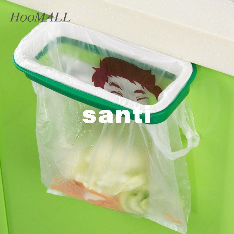 Marca el estante pl/ástico de basura bolsa de almacenamiento colgantes armario de la cocina de la puerta del soporte trasero de la basura Bolsas de basura bolsa de almacenamiento en rack de Clip