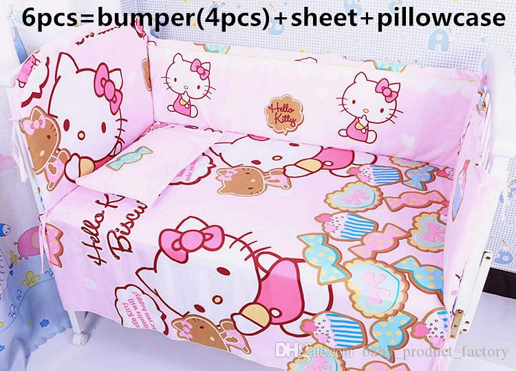 Promotion! 6PCS girl boys baby bedding set baby crib bumper bed bumper ,include(4bumpers+sheet+pillowcase)