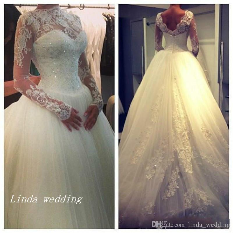 High Neck Wedding Dresses Elegant Princess Ball Gown Puffy Tulle Long Sleeve Open Back Beaded Formal Bridal Party Gowns Vestidos De Noiva