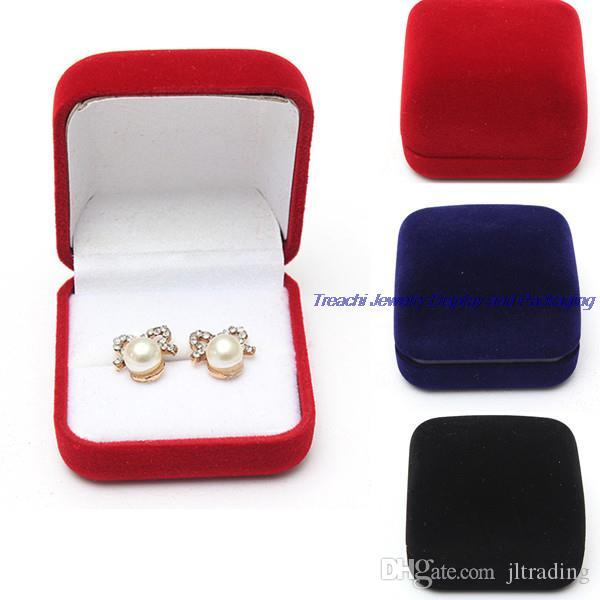 Fashion Small Red Black Blue Velvet Blocked Jewelry Package Box Case Insert Ring Stud Earrings Storage Packaging Gift Boxes Free Shipping