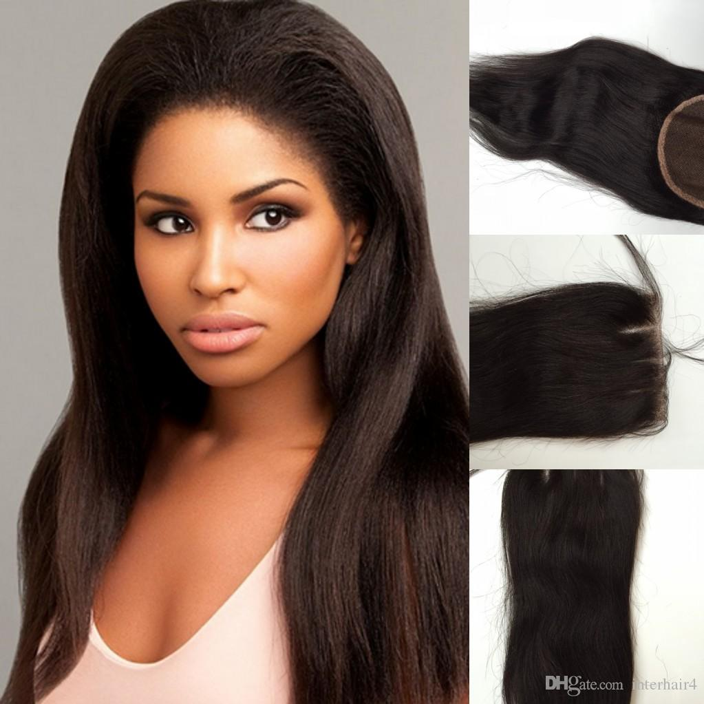 Cheapest 3 Way part lace closure 4''x4'',virgin brazilian hair lace top closure unprocessed hair swiss lace bleached knots