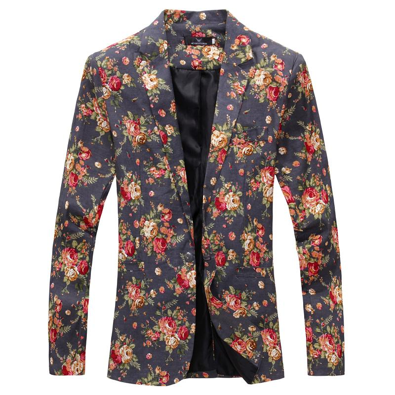 Wholesale- Mens Royal Red Floral Blazer Slim Fitted Party Single Blazers Blazers Men One Button Traje Jacket Trajes de escenario para Cantantes