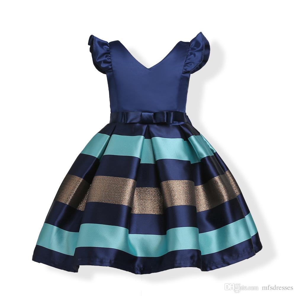 Compre Vestidos De Niña De Flores Cortos De Color Azul Borgoña Baratos Baratos En Stock Vestidos De Fiesta De Cumpleaños Para Niños Pequeños A Rayas