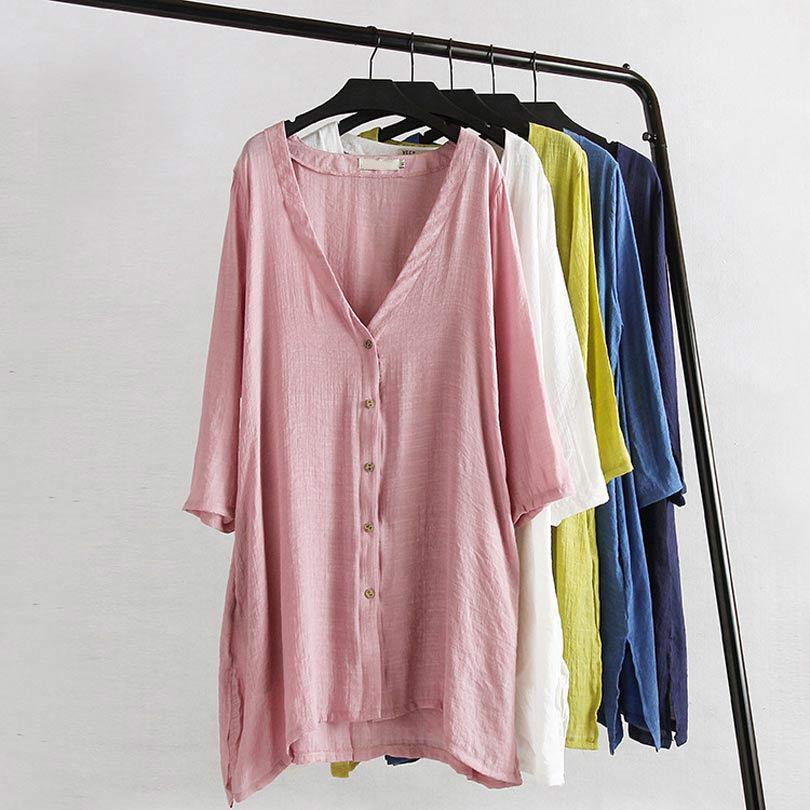 C1 Nuevo Verano Casual Mujer Blusas Largas 4XL Tallas grandes Ropa de mujer desgaste de protección UV Tops Camisas femeninas
