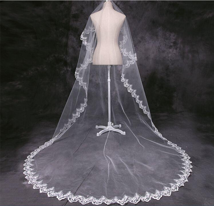 veu de noiva longo 2020 Bianco / Rosso Cheap Cattedrale Velo da sposa Accessori da sposa Pizzo Velo da sposa Velo di pizzo 3 Metri