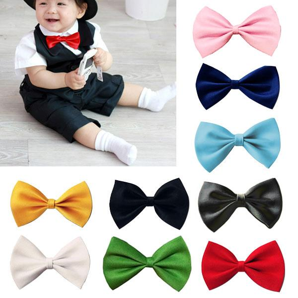 Boys Girls Baby Children Solid Color Satin Bow Ties Bowtie Navy Blue