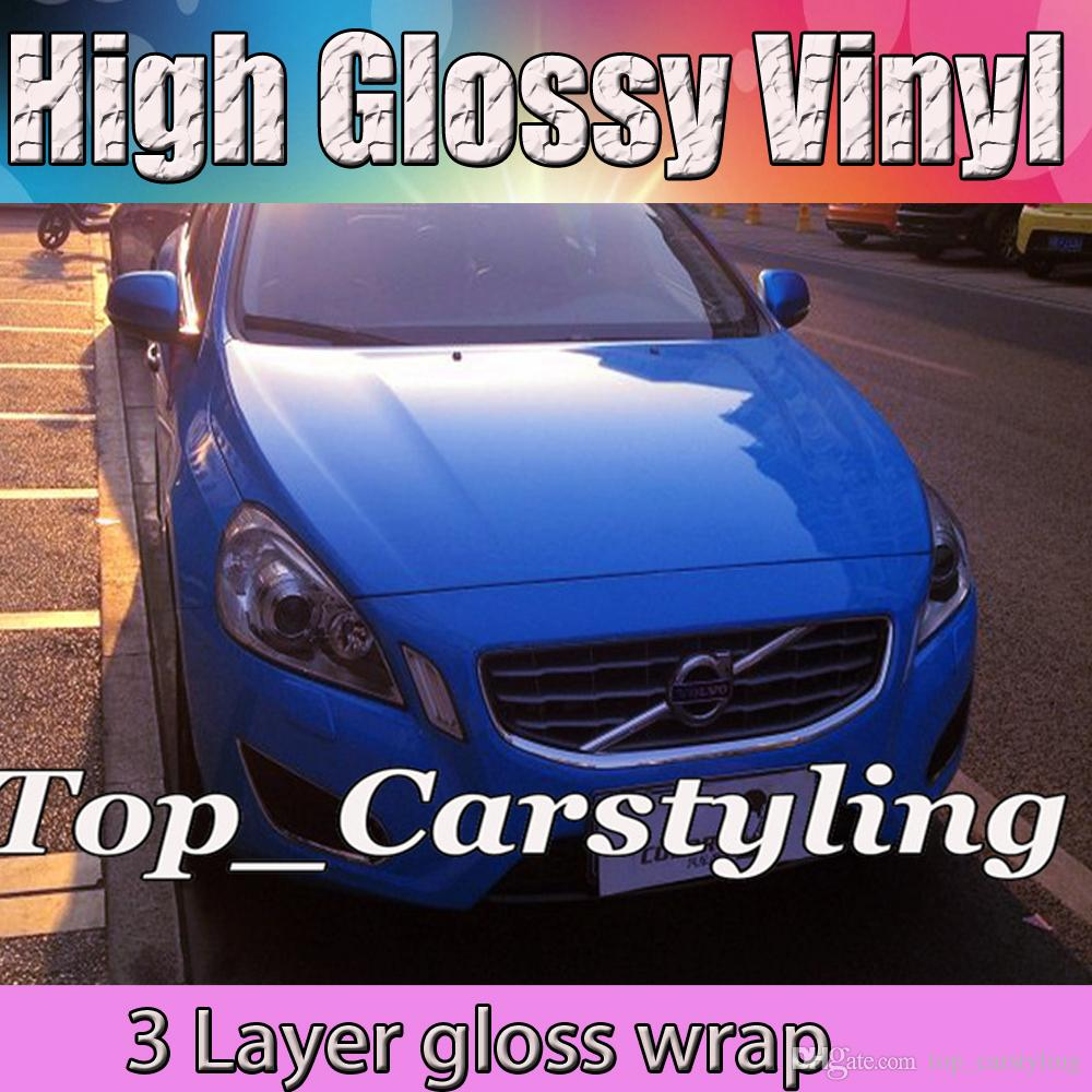 High Gloss 3 Layers Car Glossy Dark Blue Vinyl Film Gloss Film For Vehicle Wrapping Sticker With Air Channel Size:1.52x20m/roll
