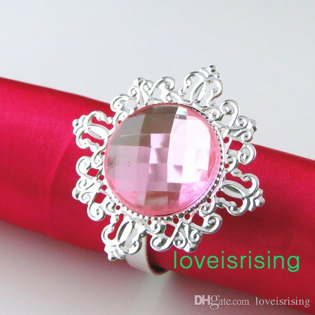 Gratis DHL-frakt-150PS högkvalitativ rosa pärla silver servett Ringar servetthållare bröllop favor leveranser -New ankomnar