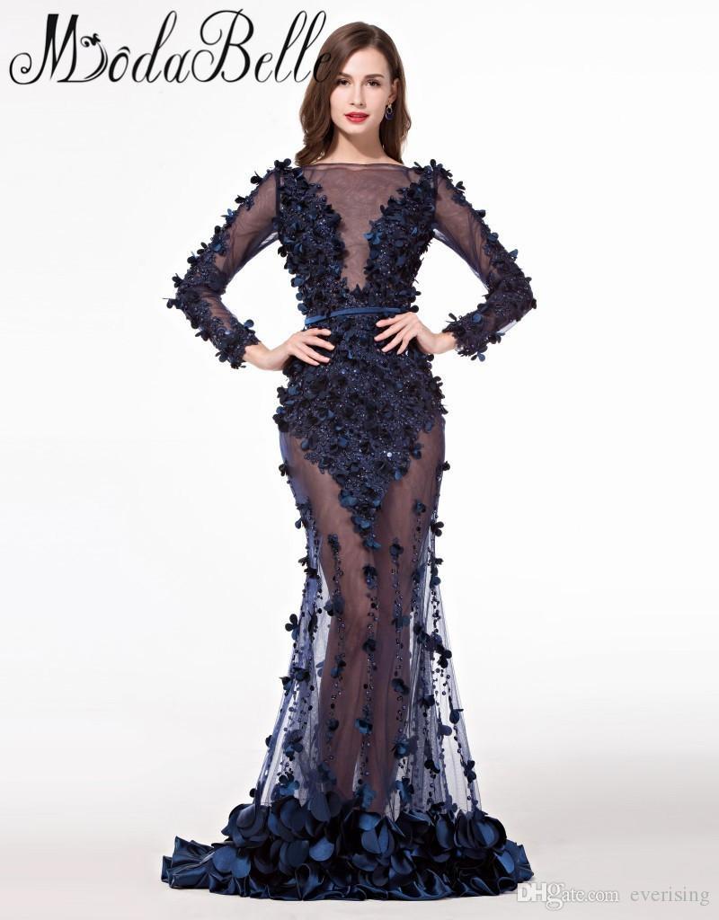 Королевский синий длинные вечерние платья Платья с рукавами плюс размер импортированные Пром платье abendkleider Лэнг
