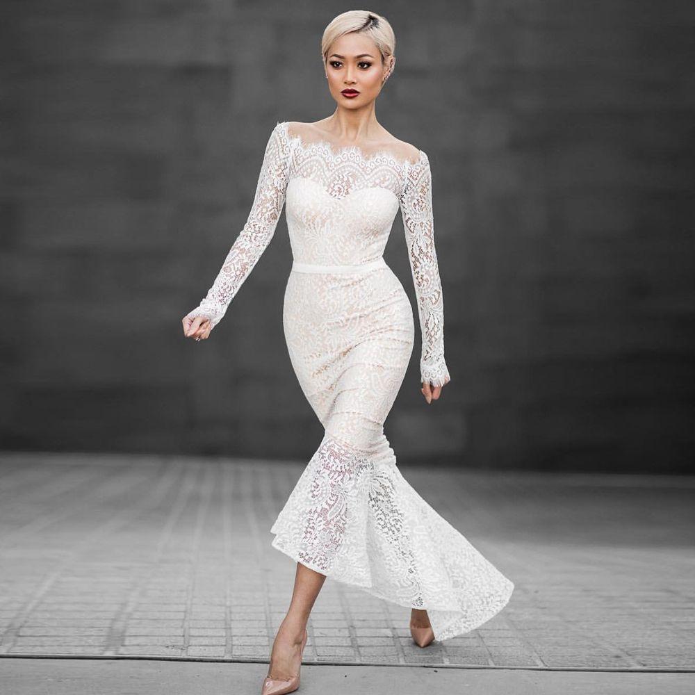 Neue Frauen-Boot-Ausschnitt-Spitze-lange Hülsen-Abend-Partei-Hochzeit Cocktail-formale Fishtail Langes Kleid S-XL