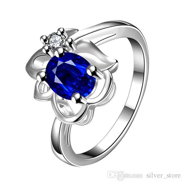 Haute qualité Full Diamond mode Fleur 925 bague en argent STPR044A marque nouvelle pierre bleue argent sterling plaque anneaux