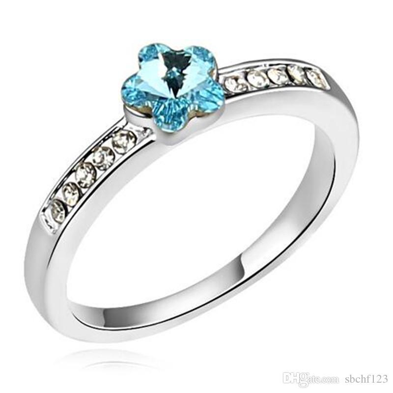 Bröllopsförlovning Ringar för kvinnor 2019 Mode Smycken Utsmyckad med kristaller från Swarovski Elements Ring Mode Märke 12885