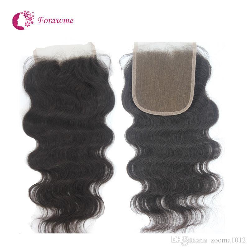 """5 * 5 capelli umani brasiliani di Remy 100% parte superiore del corpo o parte superiore ondulata del corpo Chiusure dei capelli del merletto 10 """"-20"""" 1B Chiusure vergini diritte dei capelli"""
