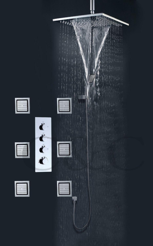 Rainfall Bathroom Shower Faucet Set With Waterfall And Rain Bathroom Shower Head 6 Pcs 4 Inch Massage Spray Jets 008-WS25X25-6MF