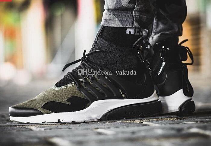 2018 Acronimo Mens Mid Runny Scarpe da corsa, sconti scarpe da sneaker a buon mercato Sportswear, Black-Bamboo Lava Oliva / Cargo Verde Sport Spa scarpa da corsa