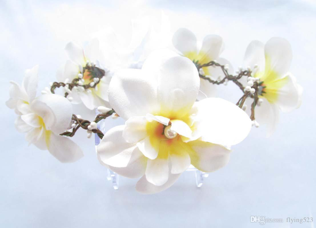 2018 Fashion White Silk Snow Lotus Flower Headbands White Rattan For
