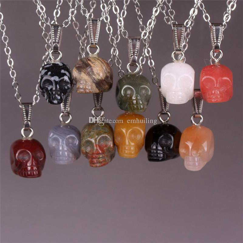 Amazing Mixed Carved Natural Jasper Jade Agate Alien Skull Head Crystal Reiki Healing Figurine Statue Charms Pendants Necklaces Wholesale