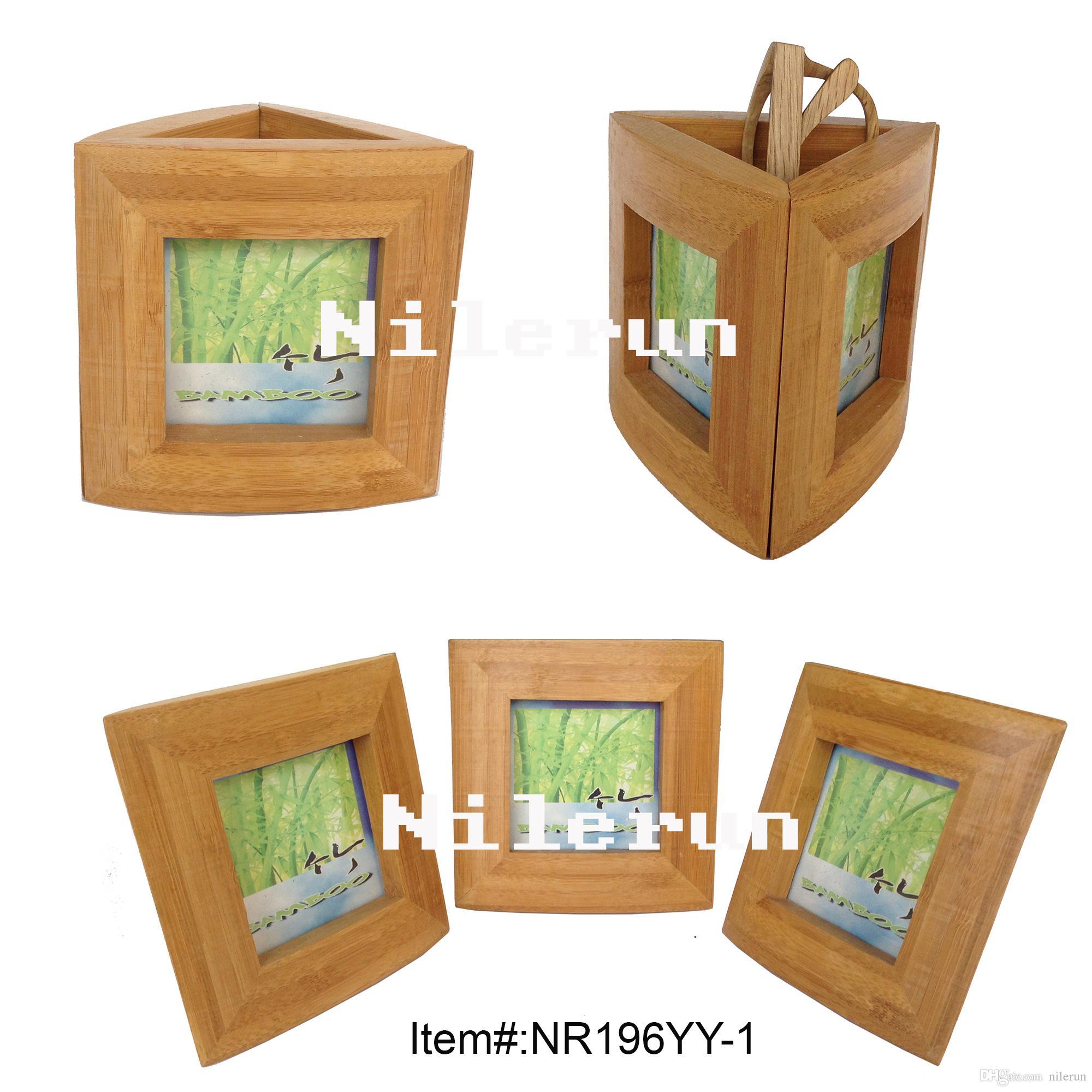 multifonctions cadre de photo de bambou pour le support et le stylo 3x3inch