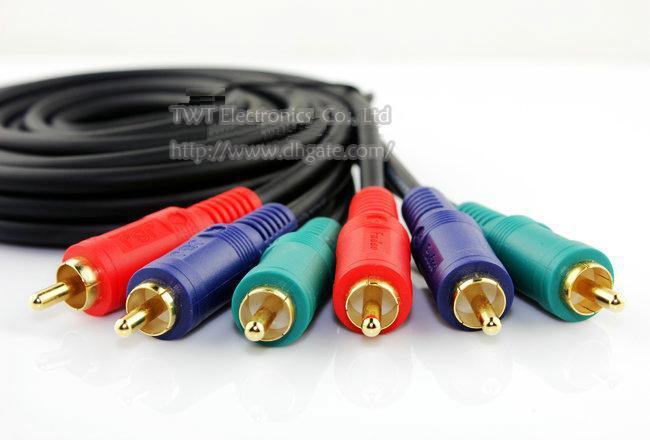 Vorgerückter Vergoldeter DREI RCA-Stecker zu DREI RCA-Stecker Audio-AV-Verbindungskabel 1.8M / Free Verschiffen / 1PCS