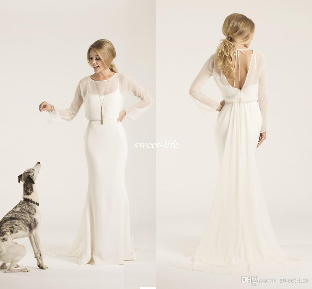Sheath Crew Neck Low Back Amy Kuschel Couture Boho Wedding Dresses With Illusion Long Sleeves Chiffon 2019 Simple Bridal Gowns Sweep Train