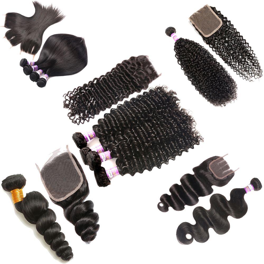 9A brésilienne vague profonde 3 Bundles avec dentelle fermeture Kinky Frontal Brésilien Curly Eau du corps en vrac vague droite Weave humaine Extensions de cheveux