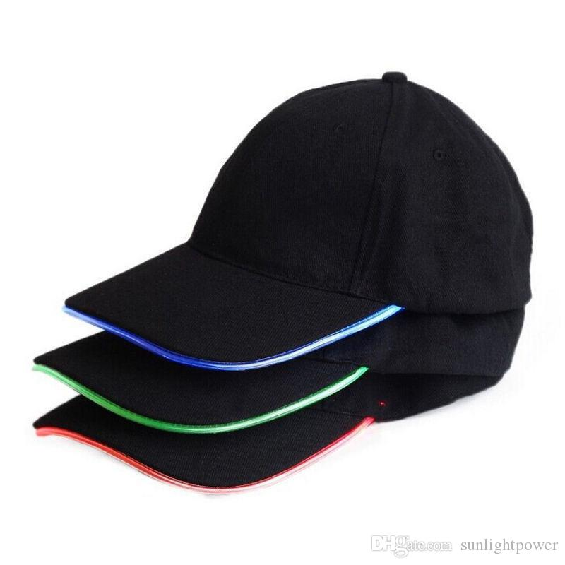 3 colores para elegir moda LED iluminado resplandor club fiesta deportes atlético negro tela viaje sombrero gorra venta caliente