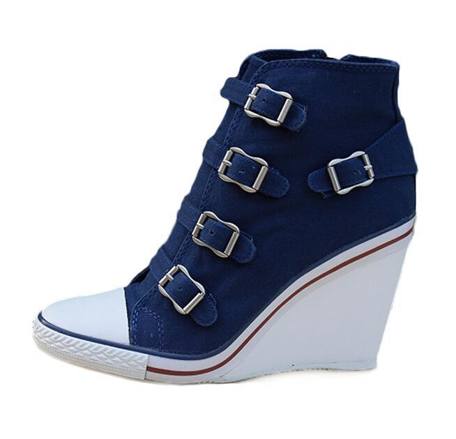 Womens ASH Thelma Buckle Wedge Sneakers
