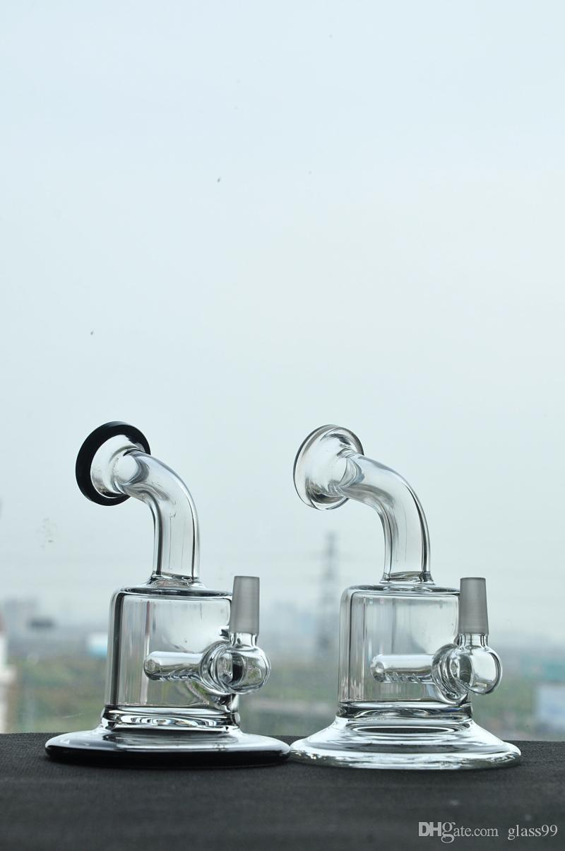 Mini Glass pipes with inner diffuser perc handle Pipe Glass bongs with 10 mm male joint