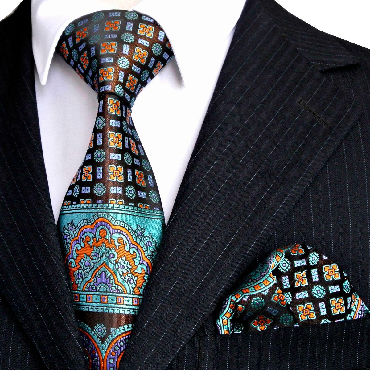 E10 الرجال العلاقات المنديل متعدد الألوان أسود أزرق الفيروز ربطات العنق مجموعة 100 ٪ الحرير بالجملة شحن مجاني