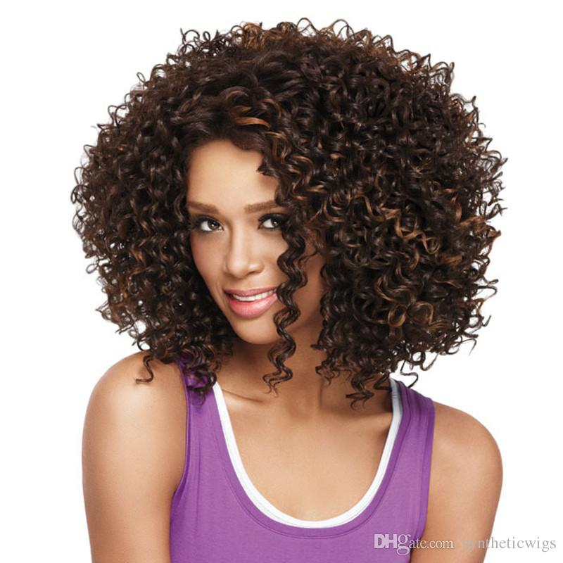 WoodFestival African american wigs synthetic short afro kinky curly hair wigs for black women medium length synthetic fiber hair wig