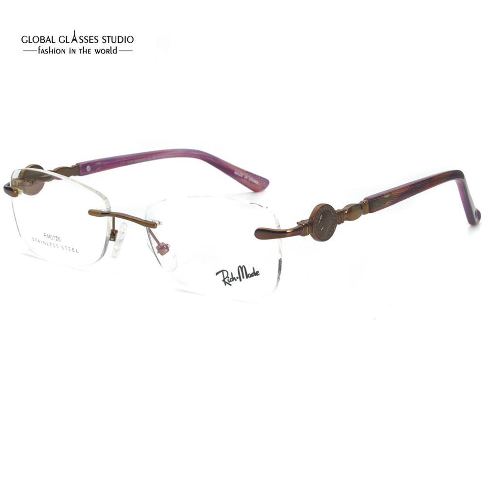 Новые очки женщин известные очки RM0726 RIMLEL RIMLED Кристалл леди оптический драгоценный золотой металл классический причудливый наконечник кадр TTDHI