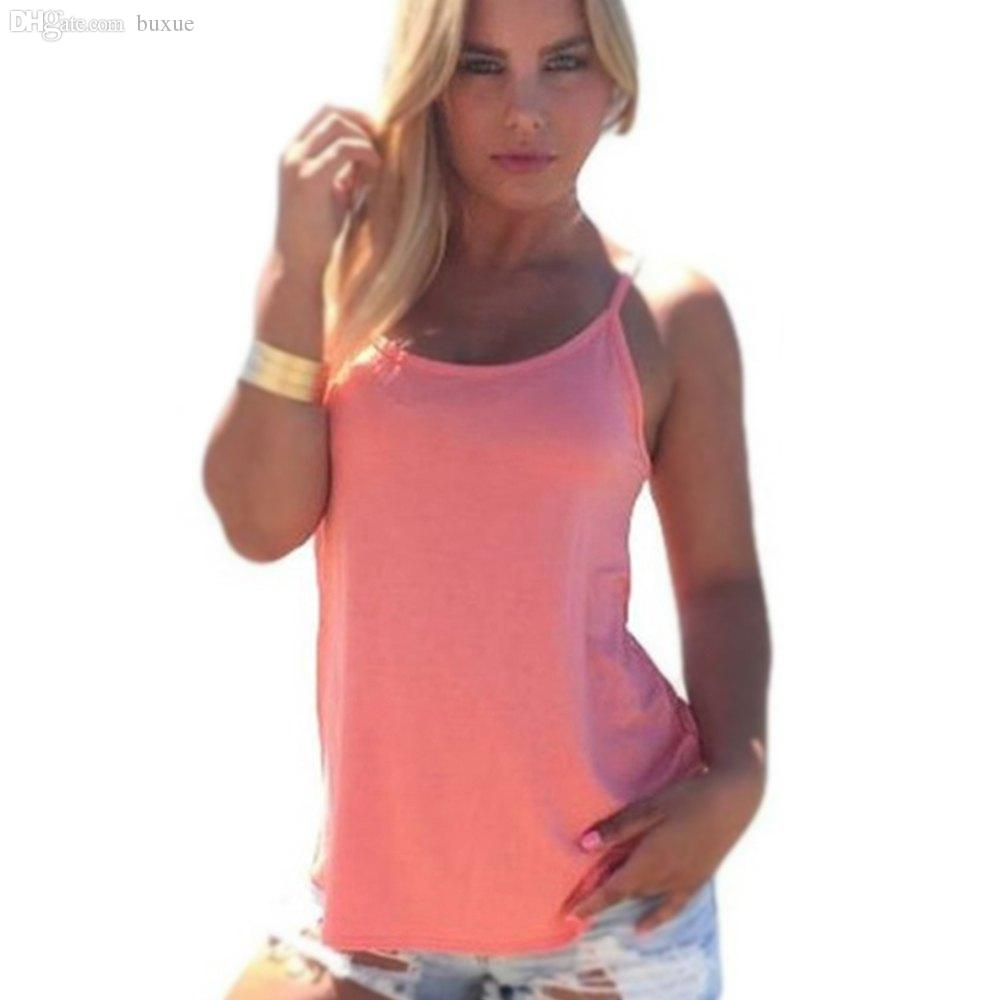 Wholesale-Summer 2016 Sexy Women Tank Top Ladies Camisole Sleeveless Strap Vest Backless Tops Solid Criss Cross Loose Feminino Crop Top