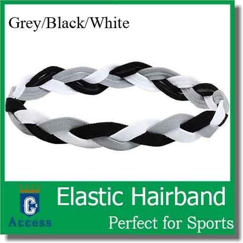 Gray black white team color Triple Braided Sports Headband with NO SLIP GRIP for Running Soccer Softball Basketball Yoga for girls women