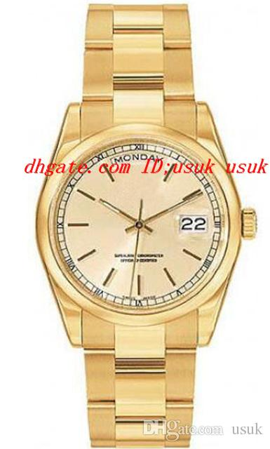 Orologi di lusso di alta qualità Champagne Index Dial Bracciale in oro giallo 18 carati orologio da uomo automatico 36mm Orologi da polso da uomo
