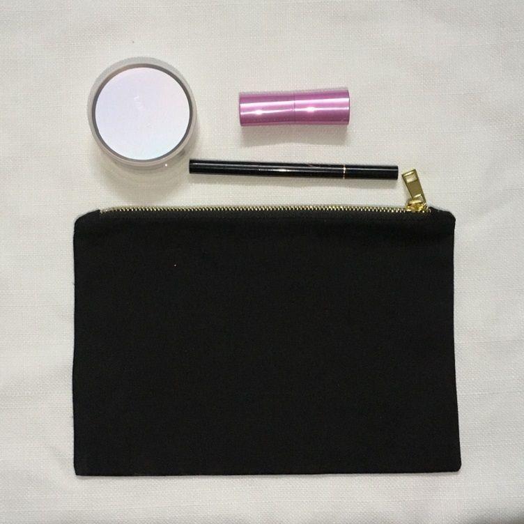 black cotton canvas makeup bag trendy black cosmetic bag blanks plain clutch bag brides gift cosmetic pouch metal zipper pouch