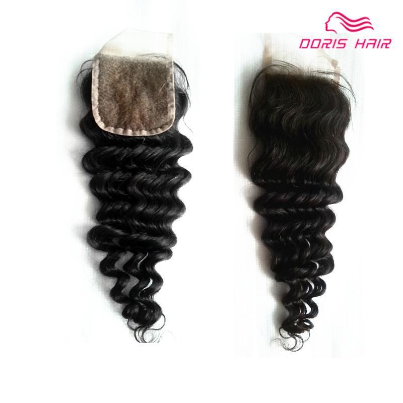 عميق موجة الشعر البشري الدانتيل إغلاق 4x4 بوصة اللون الطبيعي غير المجهزة البرازيلي الهندي بيرو عذراء الشعر أعلى إغلاق الشحن المجاني