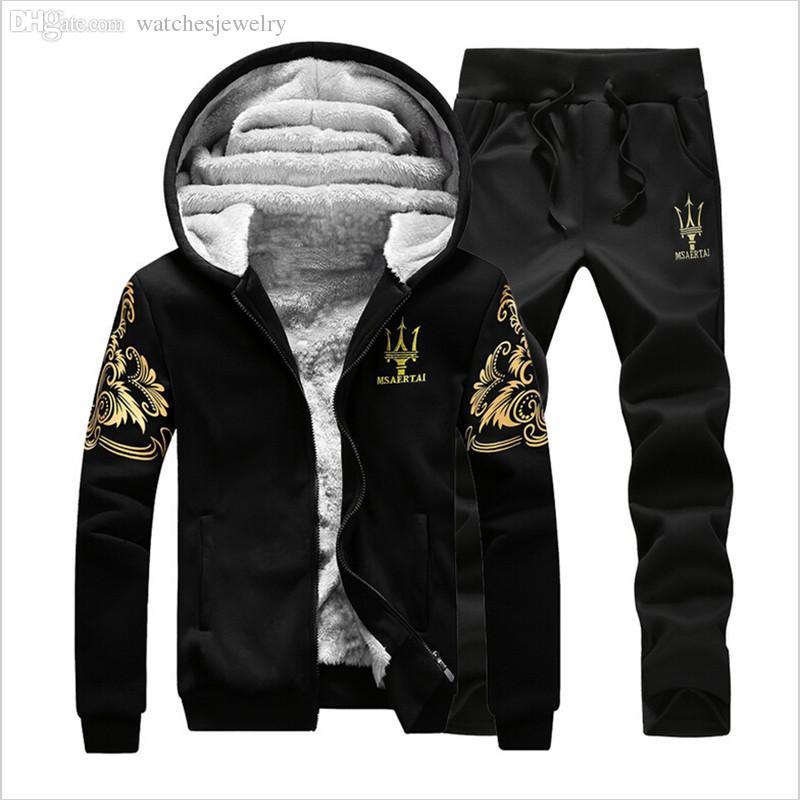 Wholesale-Men Brand Tracksuit Hoodies Sweatshirts Men Winter Warm Thick Fleece Hooded Jacket+Pants Mens Sports suit men clothing set M-4XL