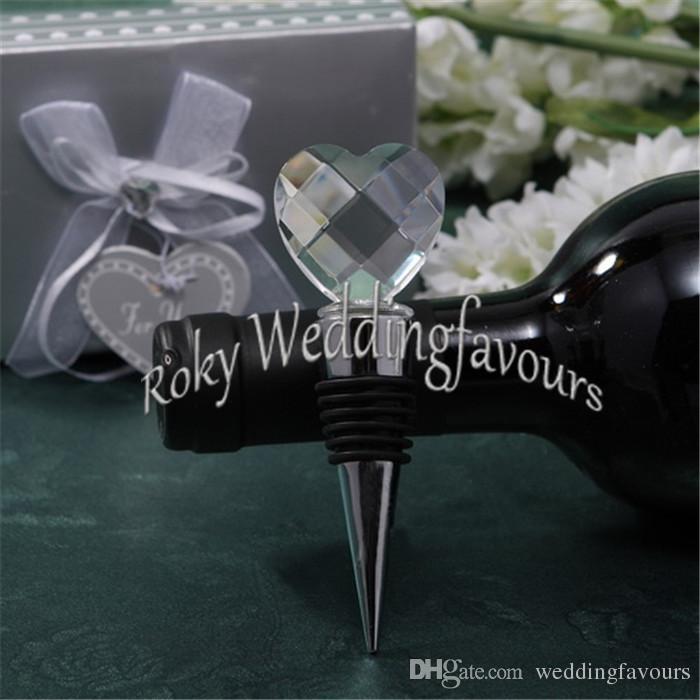 O ENVIO GRATUITO de 10 PCS Elegante Rolha De Vinho De Cristal Coração em Caixa de Prata Presentes Barware Bridal Shower Bomboniere Presentes do Partido de Noivado
