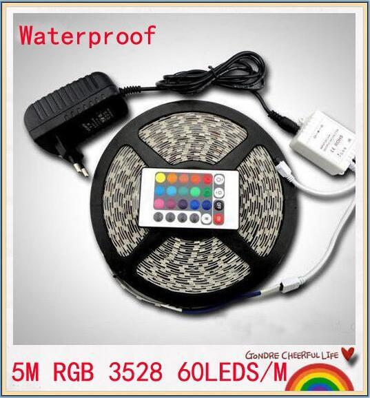 5m rgb بقيادة قطاع smd 3528 ماء 300 بقيادة قطاع الخفيفة + 24 مفاتيح ir remote + 12v 2a امدادات الطاقة الشحن المجاني