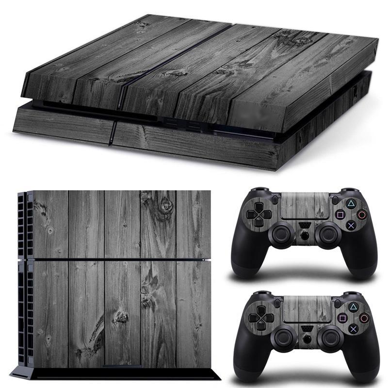 رمادي الخشب الحبوب PS4 ألعاب الجلد الشارات الفينيل التفاف ملصقات حامي للحصول على بلاي ستيشن 4 وحدة التحكم 2 PCS تحكم جلود مجانا