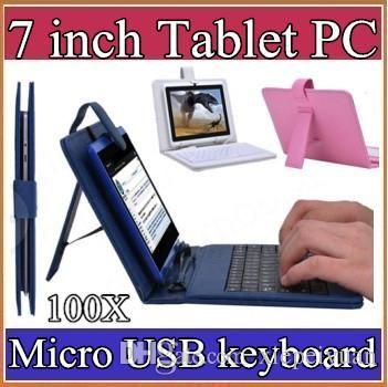 100X 선택적 범용 키보드 마이크로 슬레이트 7 7 인치 경우 마이크로 USB 플립 보호 커버 태블릿 가죽 케이스 1-JP