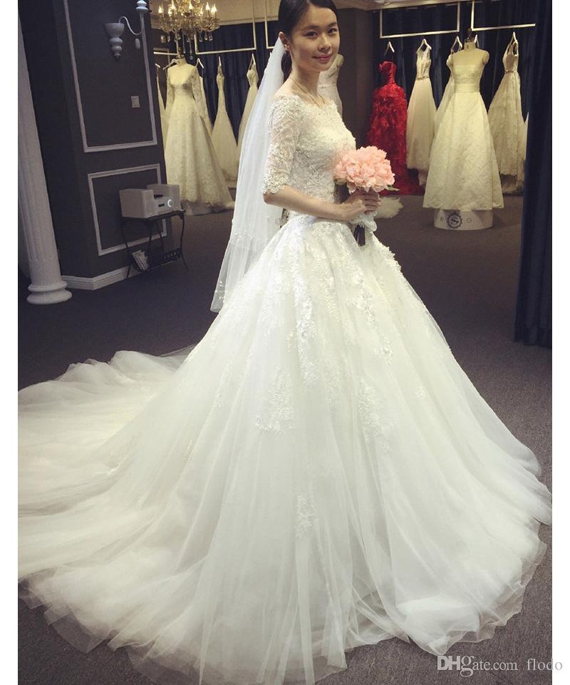 Discount Vintage Lace Sheer Half Sleeve Wedding Dresses 2016 Fall ...