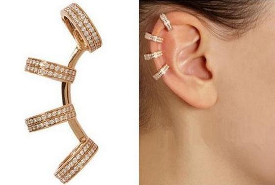 Moda Trendy donne ragazza alla moda punk strass argento / orecchio oro clip del polsino orecchini polsini dei monili 1pc