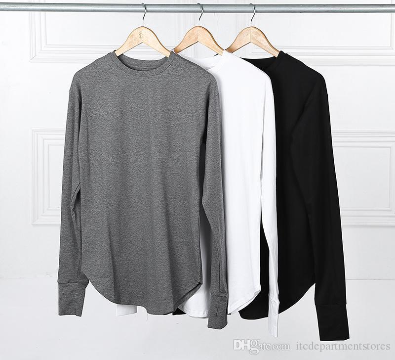 Manica lunga maglietta Nuova polsini foro del pollice Tyga Swag T-shirt Hip Hop SUPERA IL T modale tee la maglietta Streetwear allentato Bandana