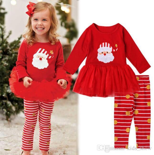 christmas 2pcs Xmas toddler Newborn infant children kid Baby Kids Girl red striped santa Tutu Skirt Tops+Leggings Clothes